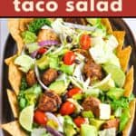 Chicken Taco Salad with text overlay