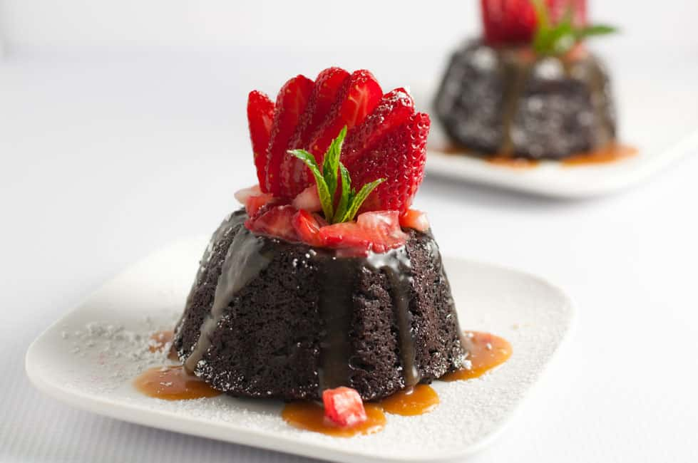 Chocolate Quinoa Mini Bundt Cakes with Strawberries and Caramel