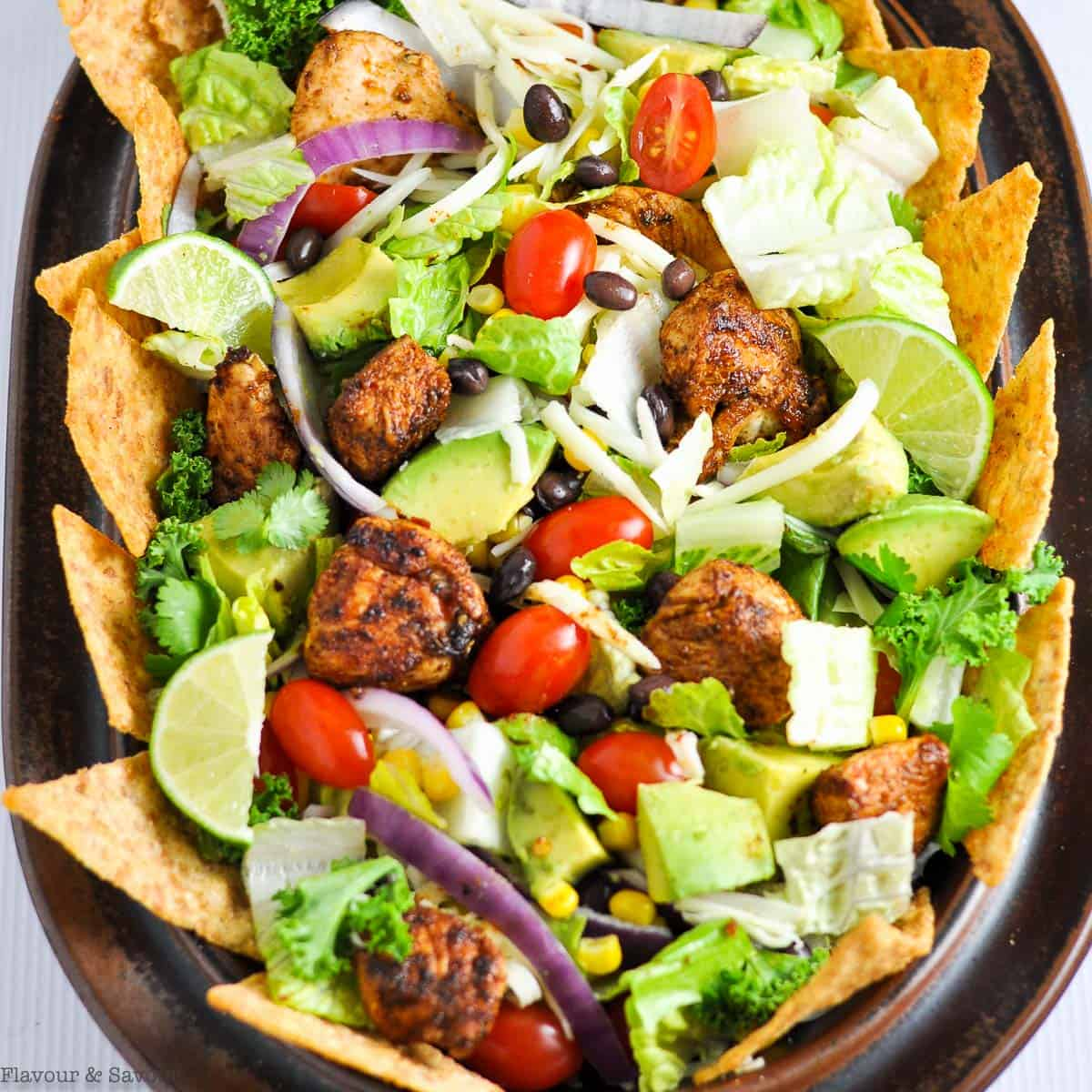 close up view of Chopped Chicken Taco Salad