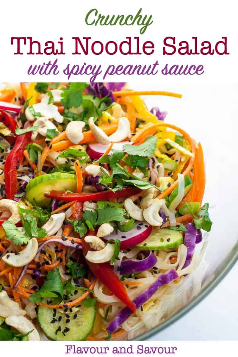 A bowl of Thai-style noodle salad with peanut sauce pin