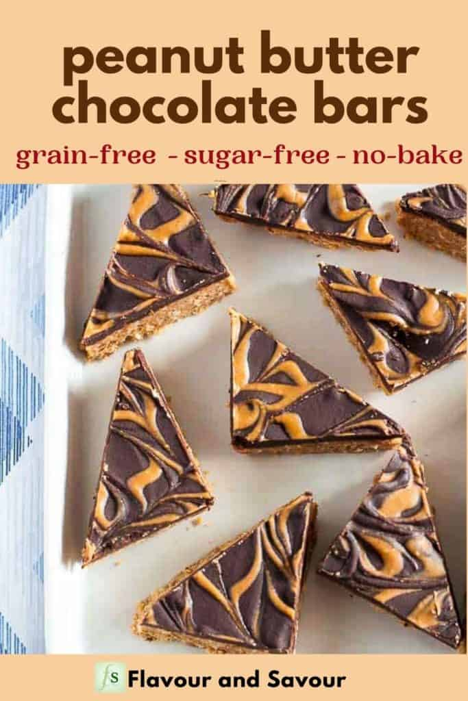 Image with text overlay Peanut Butter Chocolate Bars