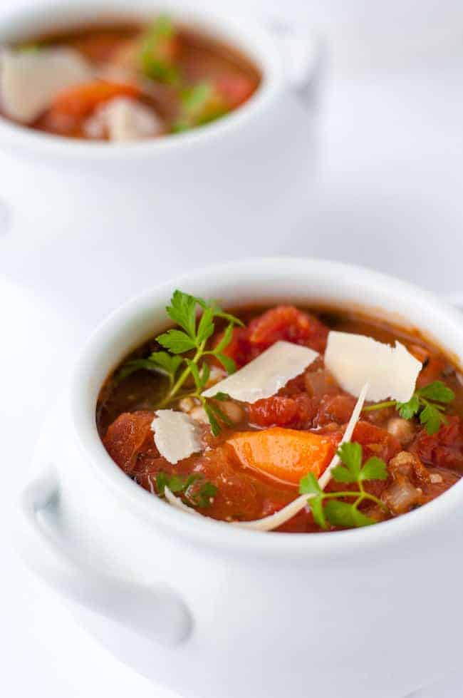 One-Pot Healthy and Hearty Tuscan Minestrone Soup. Brimming with rich Italian tomato flavour, this is an easy dairy-free soup recipe made in a slow cooker.
