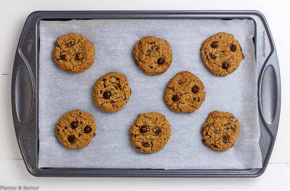 My Favourite Chocolate Chip Cookies on a baking sheet.