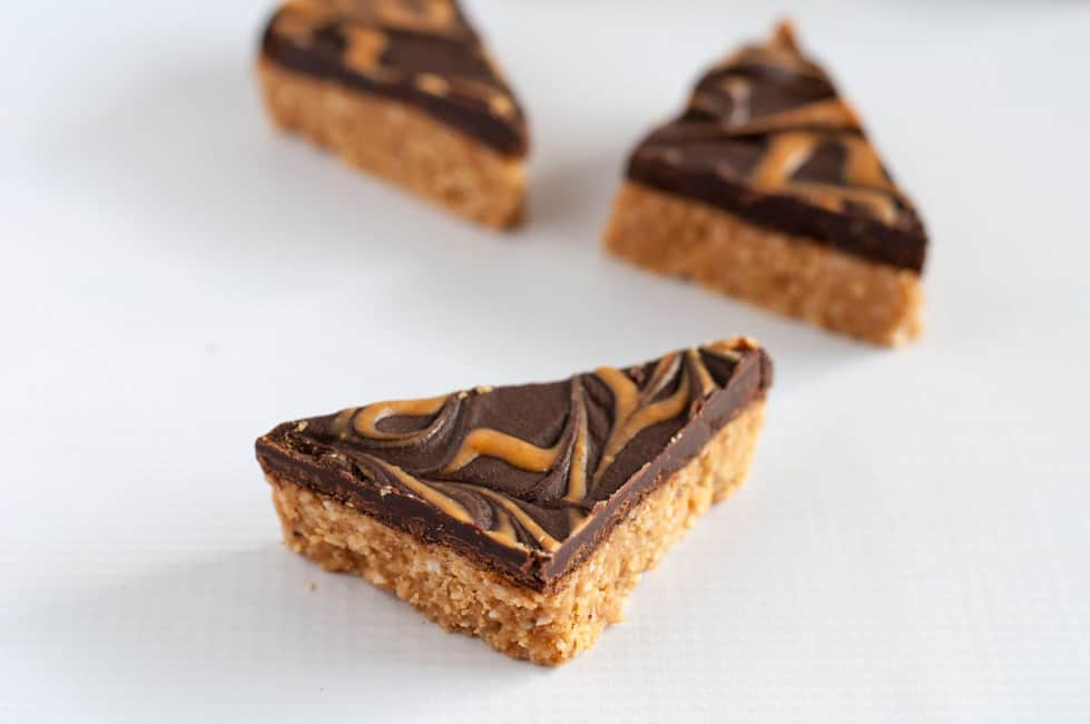 No-Bake Peanut Butter Swirl Chocolate Bars cut into triangles.