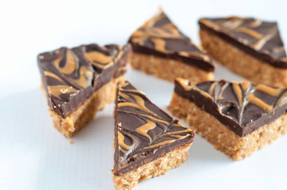 No-Bake Peanut Butter Swirl Chocolate Bars, cut into triangles