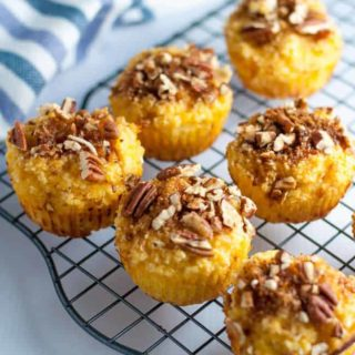 Paleo Pineapple Coconut Muffins with Pecan Crumble. Grain-free, dairy-free and refined sugar-free too! Tropical flavours in a paleo muffin.