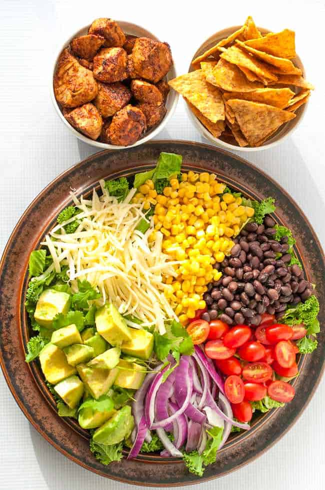 Skinny Chopped Chicken Taco Salad,. Keep everyone around the table happy by letting them create their own taco salad. Fresh and clean! |www.flavourandsavour.com