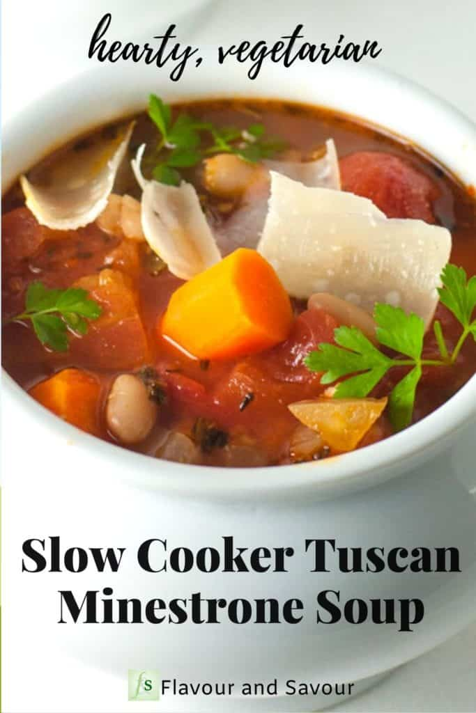text and image of Slow Cooker Tuscan Minestrone Soup