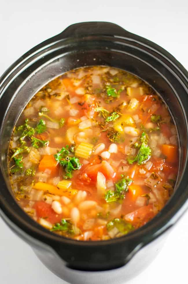 One-Pot Healthy Tuscan Minestrone Soup. 15 minutes to prepare, then let your slow cooker transform this into a delicious Italian soup, full of healthy vegetables and cannellini beans.
