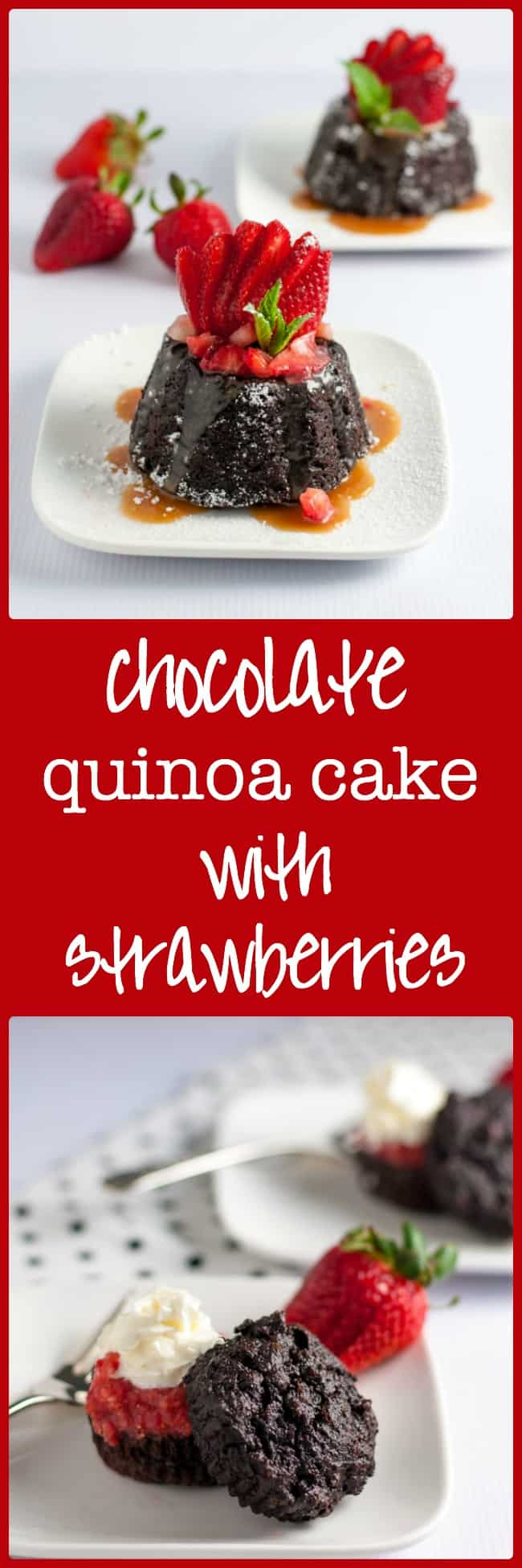 Chocolate Quinoa Mini Bundt Cakes with Strawberries and Caramel Sauce. Looking for Spring dessert ideas? These are gluten-free, dairy-free and delicious! Rich chocolate flavour, fresh strawberries and sweet caramel sauce with a paleo option!  www.flavourandsavour.com