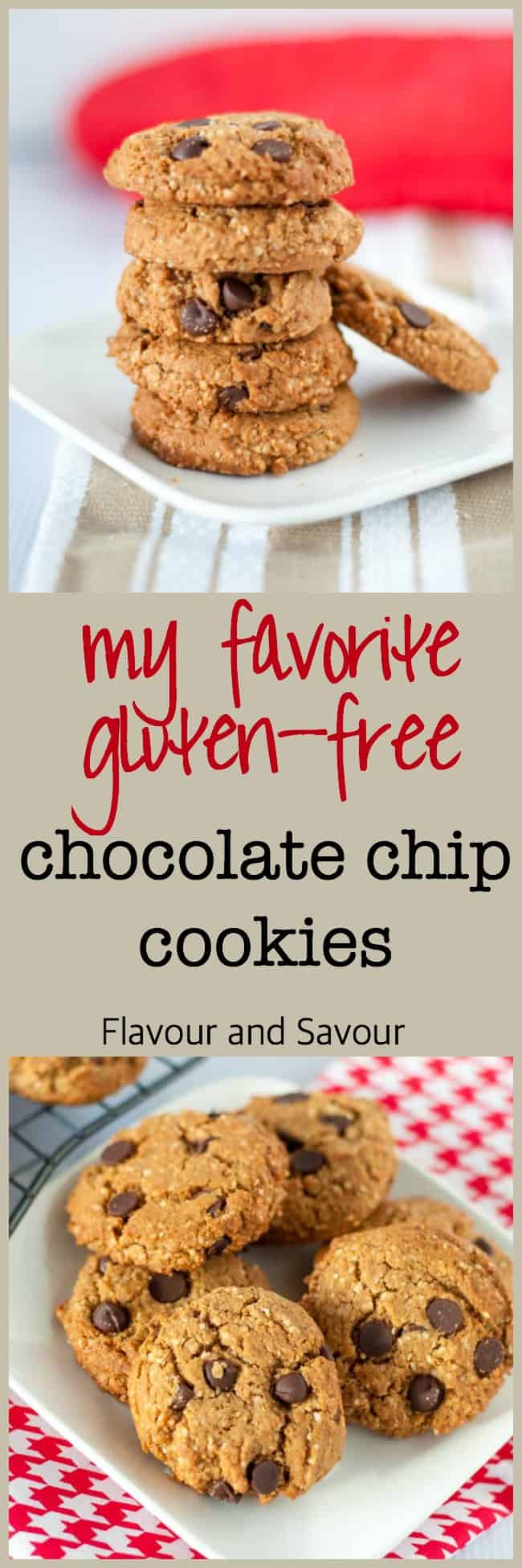 My Favourite Gluten-Free Chocolate Chip Cookies. Made with almond flour and coconut flour, NOT gluten-free flour blend. Tasty and healthy!