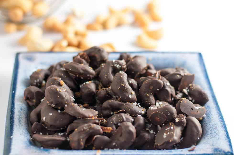 Sweet and Sea Salty Chocolate Cashews. Make your own holiday treats this year and ditch the store-bought candy. Easy recipe with simple ingredients.