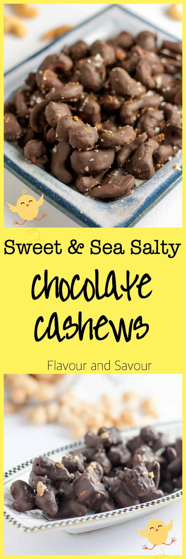 Sweet and Sea Salty Chocolate Cashews. Make your own holiday treats and ditch the store-bought candy. Easy recipe with simple ingredients.