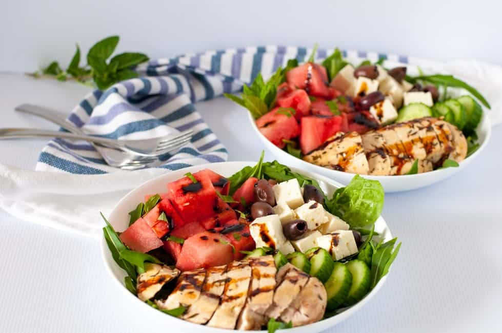 Greek Chicken Watermelon Feta Salad with Balsamic Dressing.
