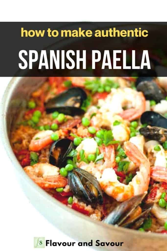 Image and text overlay for authentic Spanish Paella