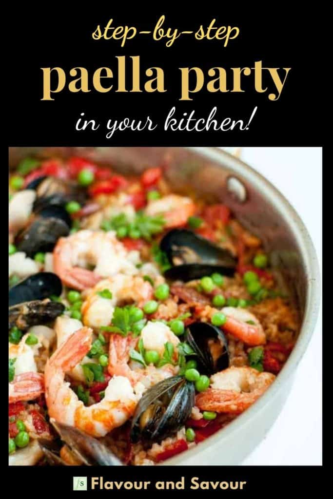 Pinterest pin for step-by-step paella party