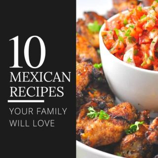 10 Mexican Recipes your family will love. Everything from chunk guacamole and pico de gallo, taco salad, smoky chipotle chicken, to chili lime shrimp!