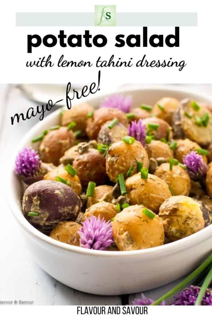 Image with text overlay for potato salad with lemon tahini dressing