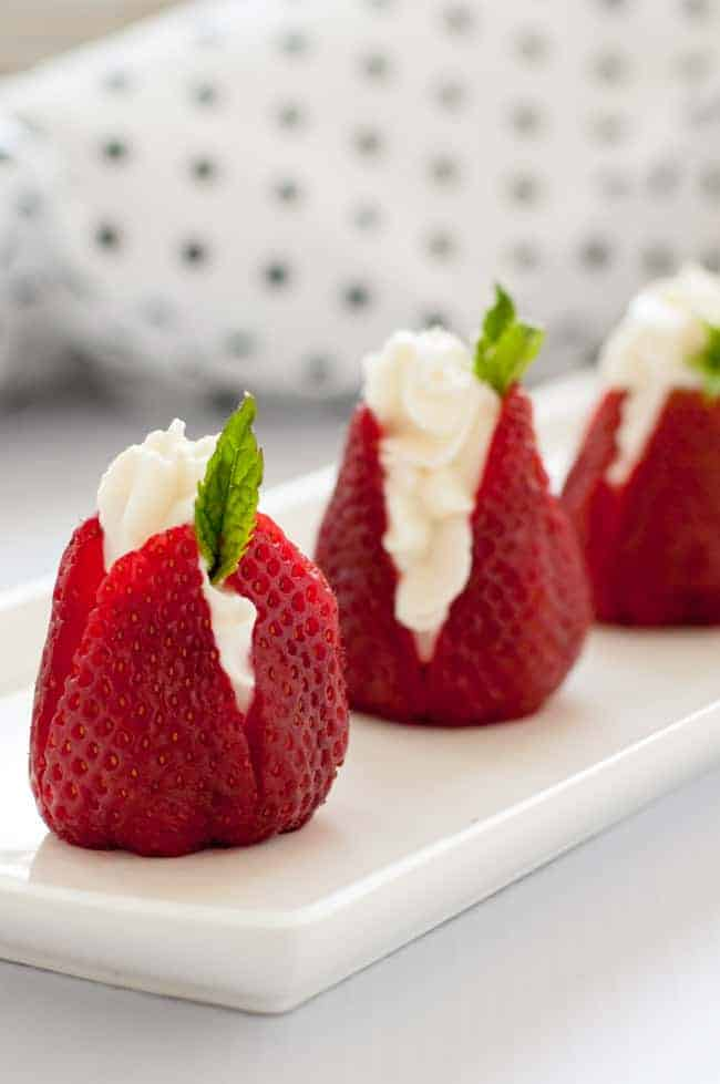 Sweet Goat Cheese Stuffed Strawberries with Mint- |www.flavourandsavour.com
