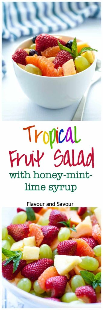 Tropical Fruit with Honey Mint Lime Syrup. This is a crowd-pleasing dessert. It's gluten-free, dairy-free and sugar-free! Fresh colourful fruits tossed with a light honey mint lime dressing makes an ideal potluck offering or dessert for your next barbecue.