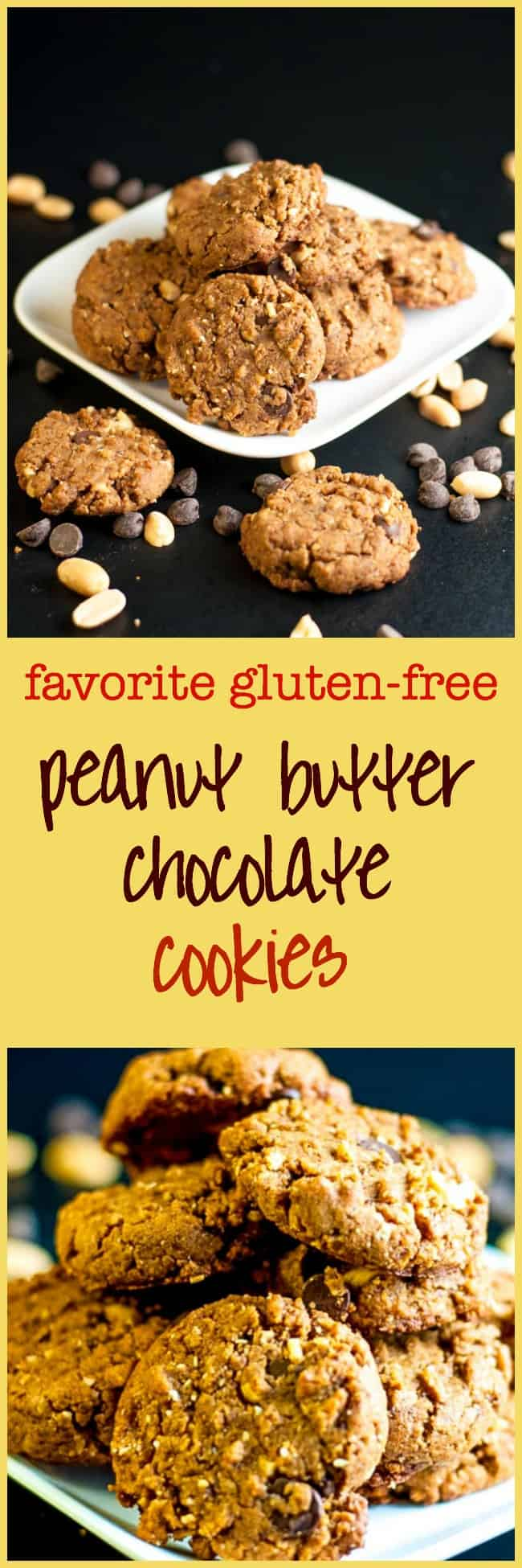 My Favourite Gluten-Free-Peanut-Butter-Chocolate-Cookies. This recipe makes soft but sturdy cookies with crunchy peanuts and sweet chocolate chips.