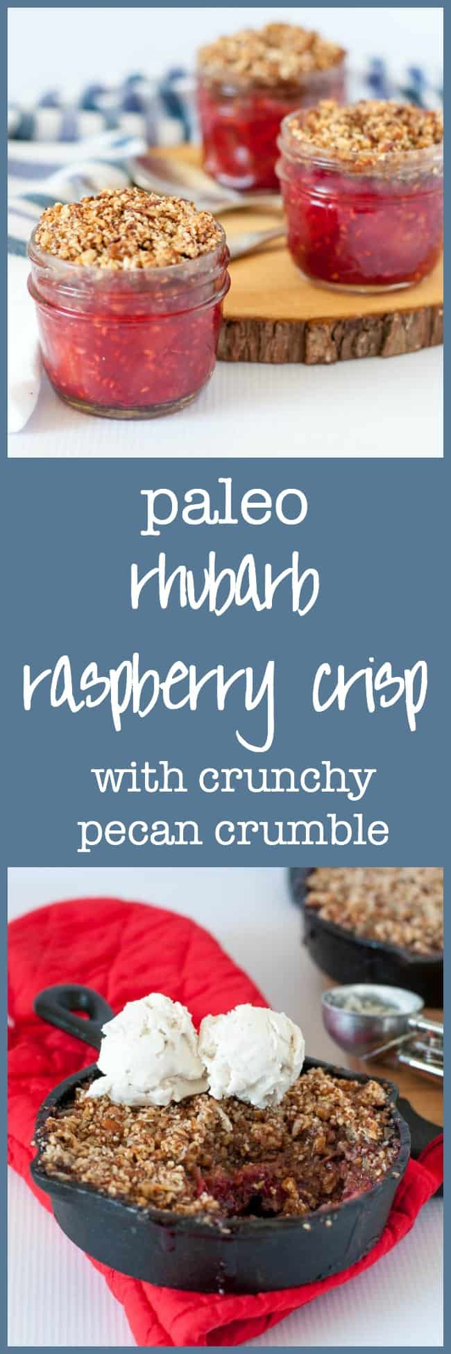 Paleo Rhubarb Raspberry Crisp with Crunchy Pecan Crumble. A grain-free, dairy-free spring time dessert with rhubarb and raspberries and a pecan-coconut topping.