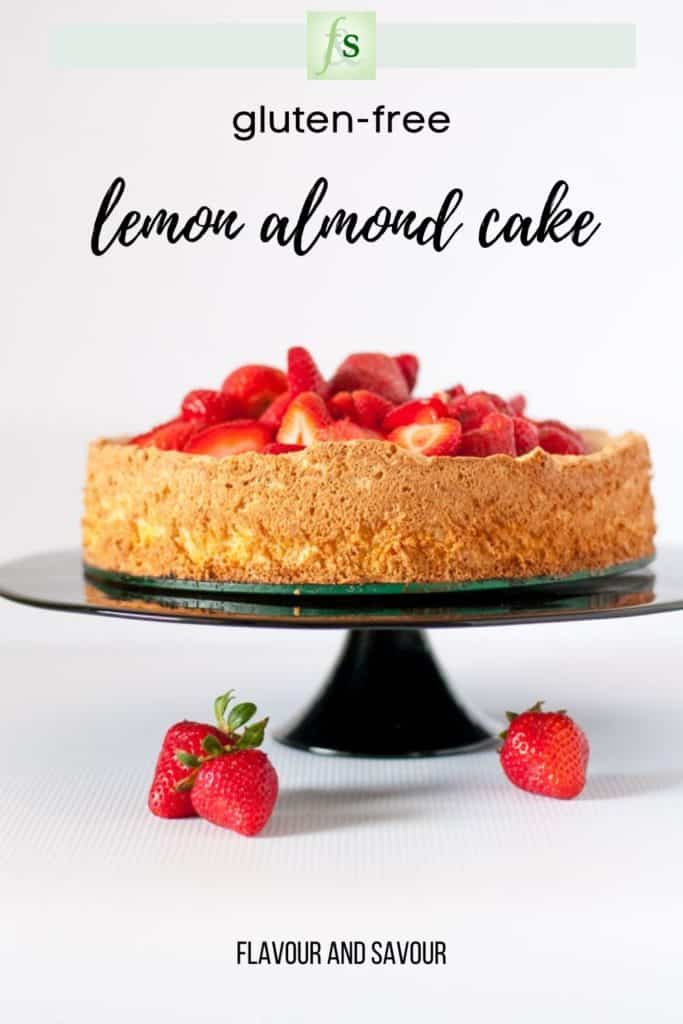 Image and text for Gluten-free Lemon Almond Cake with Strawberries