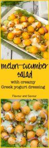 This refreshingly sweet Melon Cucumber Salad features Honey Kiss melon balls and crispy cucumbers with a little zing from red onion and chili flakes. Drizzled with a creamy Greek yogurt dressing, it's an ideal summer salad.  www.flavourandsavour.com