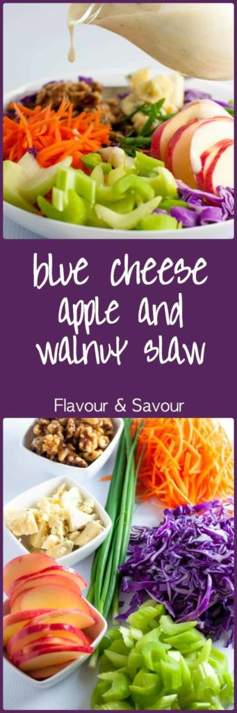 This Blue Cheese Apple and Walnut Slaw has it all! Colour, crunch, contrasting flavours and a creamy Greek yogurt dressing. Overflowing with Vitamin C! |www.flavourandsavour.com
