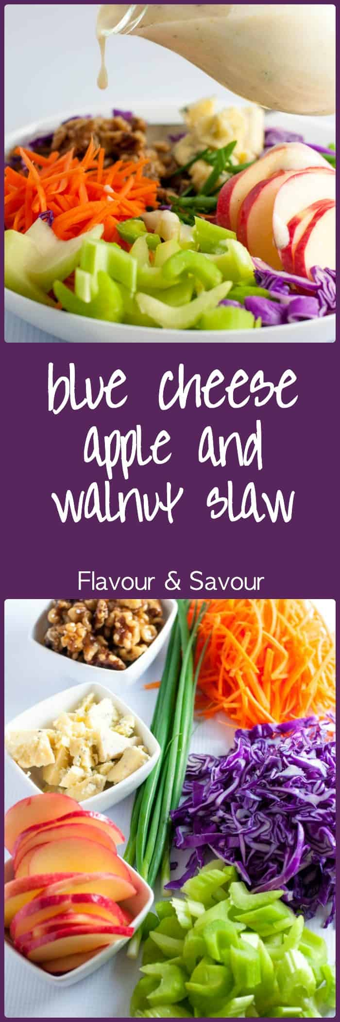 This salad has it all! Colour, crunch, contrasting flavours and a creamy Greek yogurt dressing! Blue Cheese, Apple and Walnut Slaw #flavourandsavour #blue_cheese #coleslaw #apple #walnuts #greekyogurt_dressing