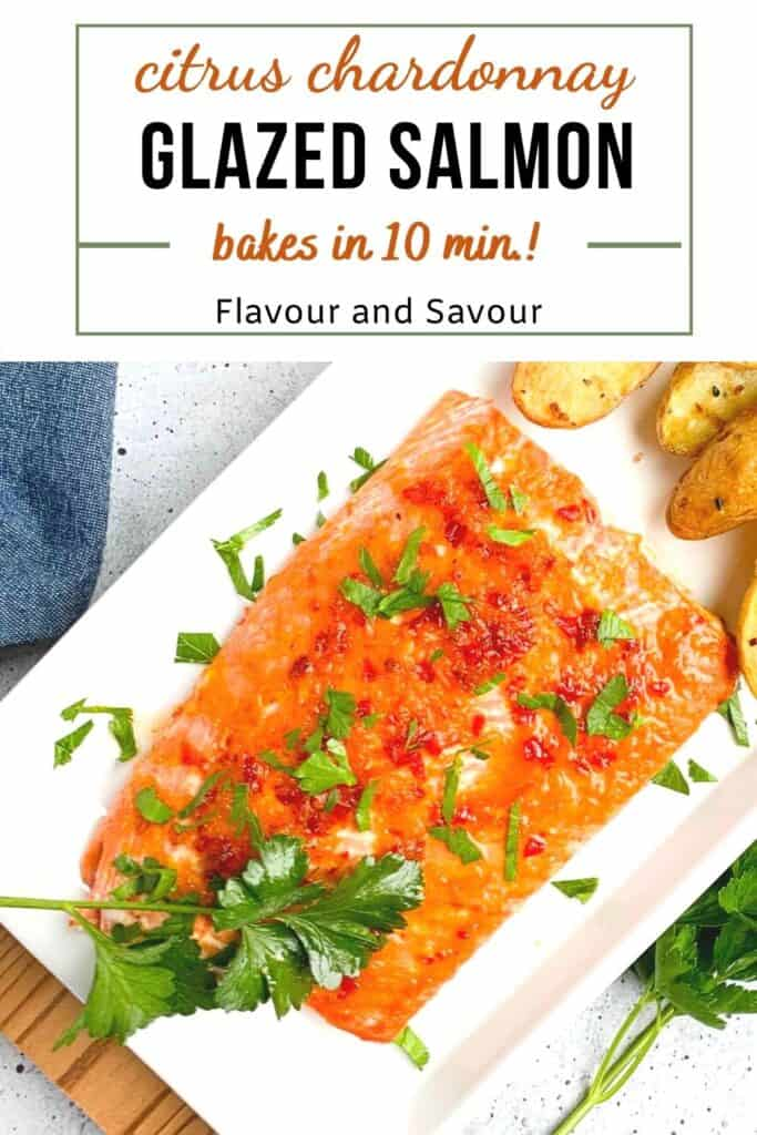 image and text for citrus chardonnay glazed salmon