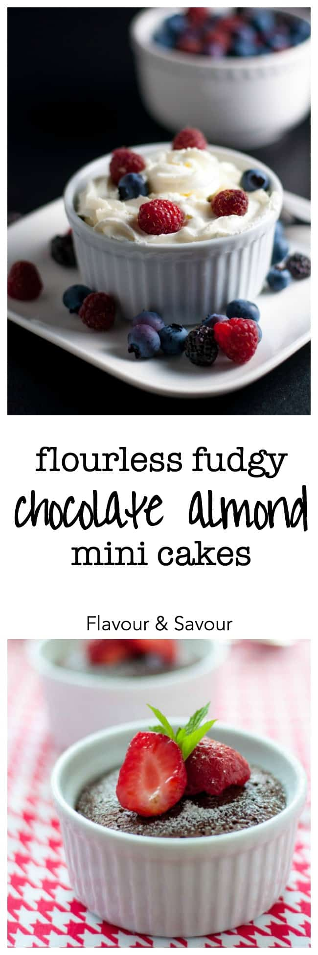 Try these Flourless Fudgy Mini Chocolate Almond Cakes when you just want a taste! They're decadently delicious, and gluten-free. Rave reviews. |www.flavourandsavour.com