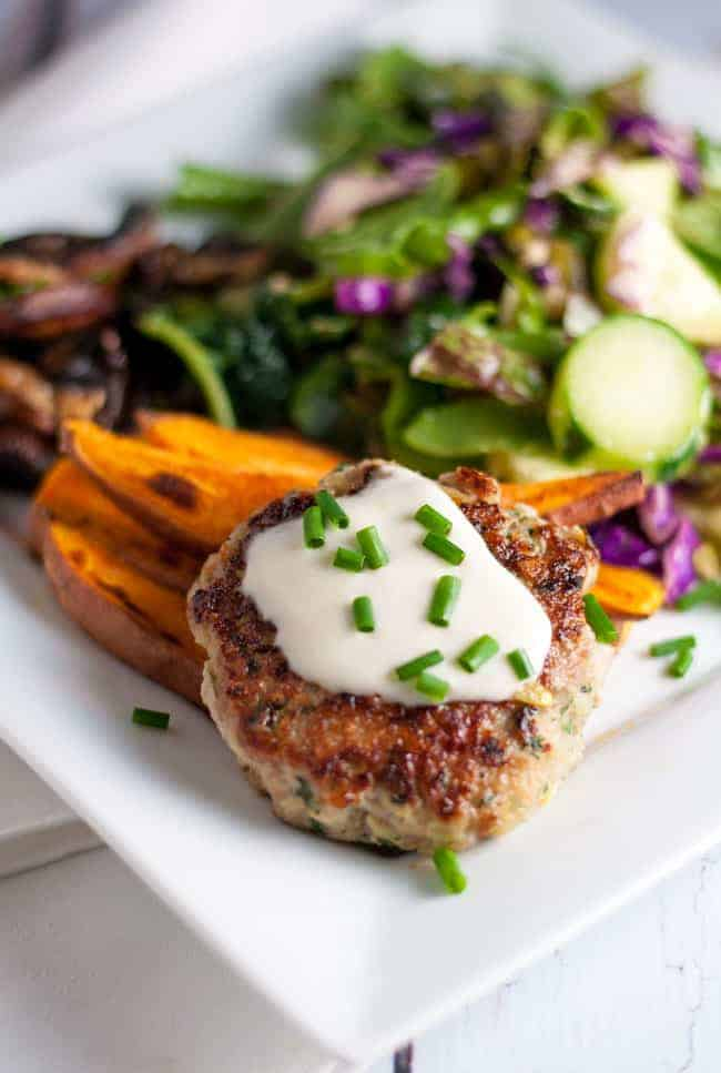 Healthy Open Face Thai Chicken Burgers.