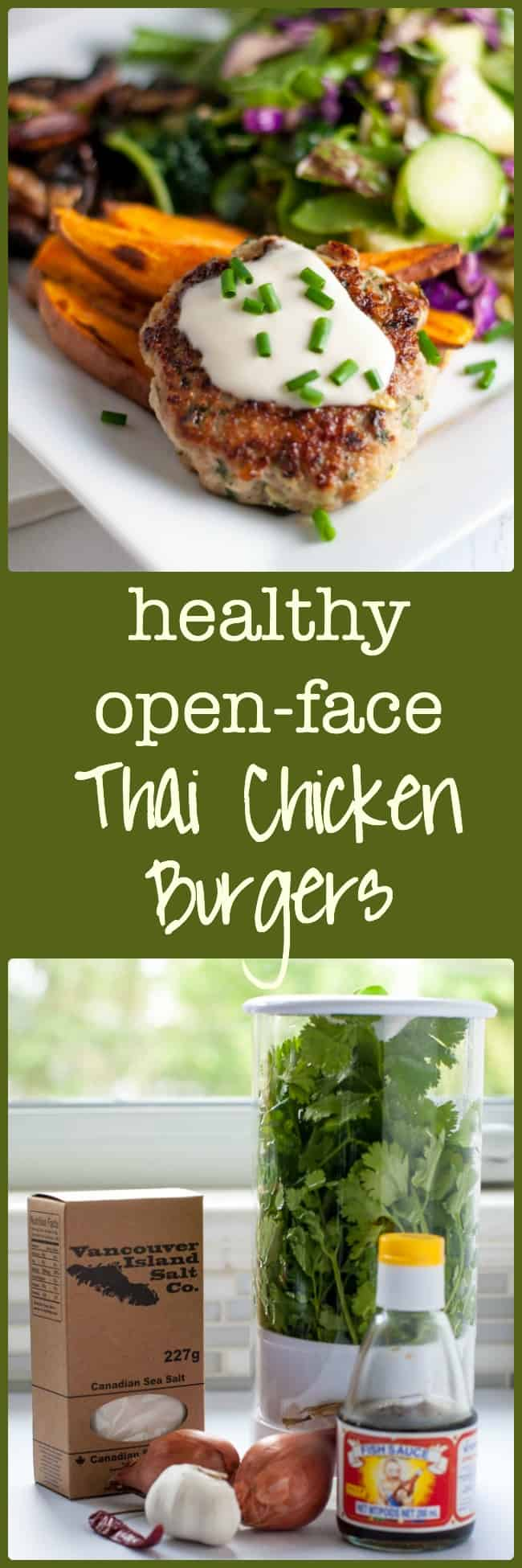 hese Paleo Thai Chicken Burgers are incredibly flavourful and are packed with protein. Serve as an open-face burger with a side salad to make a paleo and gluten-free meal.