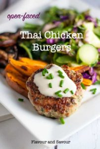 Healthy Open-Face Thai Chicken Burger with sweet potato wedges and salad