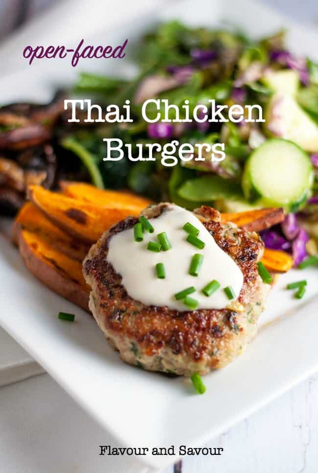 These Paleo Thai Chicken Burgers are incredibly flavourful and are packed with protein. Serve as an open-face burger with a side salad to make a paleo and gluten-free meal. #gluten-free #ground_chicken #paleo #burger