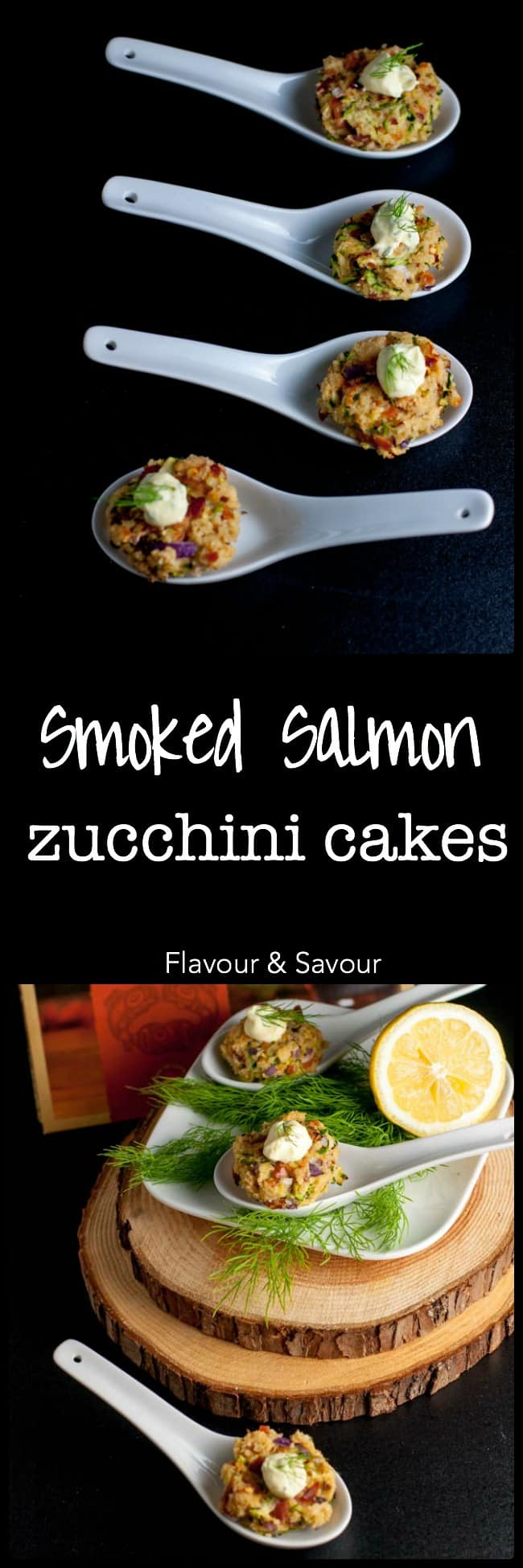 Smoked Salmon Zucchini Cakes make a healthy savoury appetizer. They're baked, not fried! These crispy little zucchini fritters with a Lemon Dill Dip get snapped up quickly! |www.flavourandsavour.com