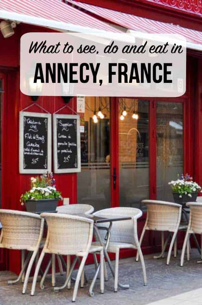 Sidewalk cafe with white wicker chairs in France