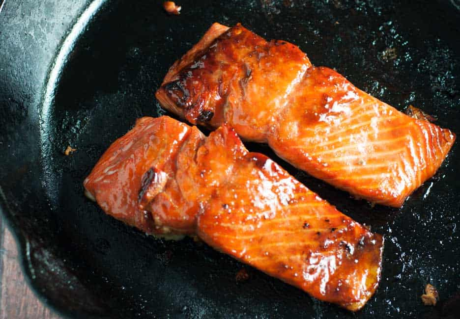 Caramelized Sockeye Salmon with Wild Huckleberry Gastrique. Full of omega-3's, nutritionists recommend eating salmon once or twice a week. Here's a delicious way to do so! |www.flavourandsavour.com