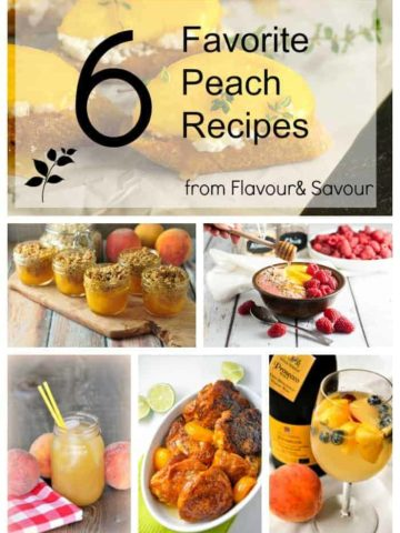 6 Favorite Peach Recipes from Flavour and Savour. Is there anything better than fresh peaches? This includes recipes for lemon ricotta crostini with honeyed peaches, peach melba smoothie bowl, peach iced tea, peach crisp, chipotle peach glazed chicken and the BEST peach sangria!