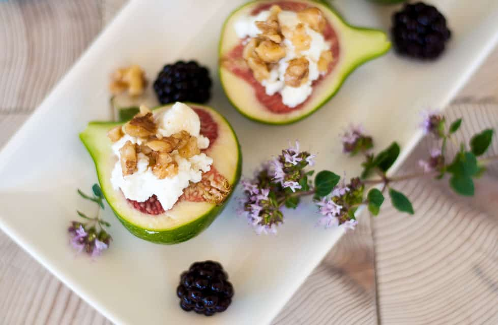Fresh Figs with Goat Cheese and Maple Walnuts.
