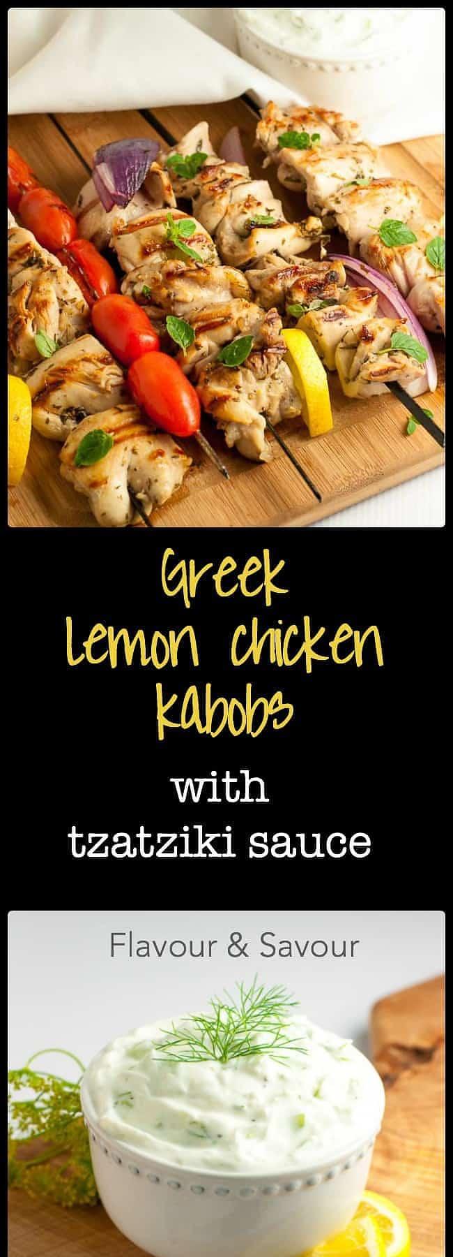 Greek Lemon Chicken Kabobs with homemade Tzatziki Sauce. Fresh herbs, lemon, garlic and red wine vinegar make a fabulous marinade for juicy, succulent chicken skewers. |www.flavourandsavour.com