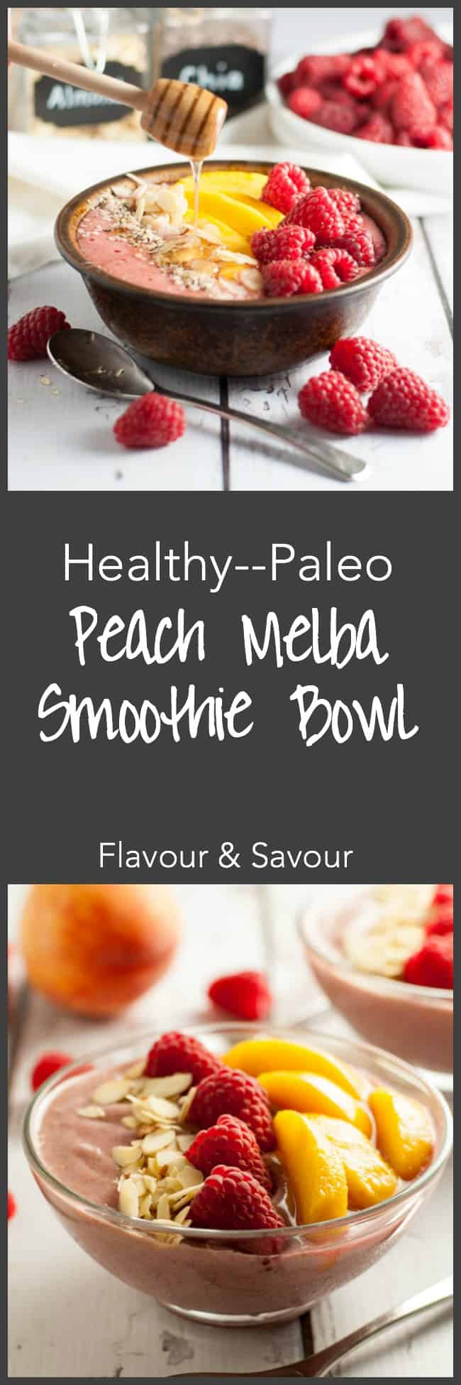 Healthy Peach Melba Smoothie Bowl. A healthy Paleo breakfast! Eat clean with all the benefits of a smoothie, but with the added benefits of fun toppings! |www.flavourandsavour.com