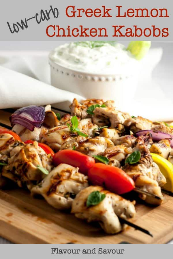 Low-Carb Greek Lemon Chicken Kabobs title