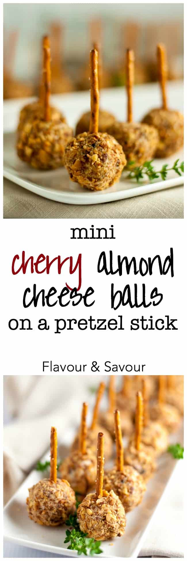 Mini Cherry Almond Cheese Balls on a Pretzel Stick. A quick and easy party snack made with sweet dried cherries, cream cheese, and sharp and salty blue cheese! Too good for words. Gluten-free option! |www.flavourandsavour.com