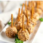 Mini Cherry Almond Cheese Balls on Pretzel Sticks