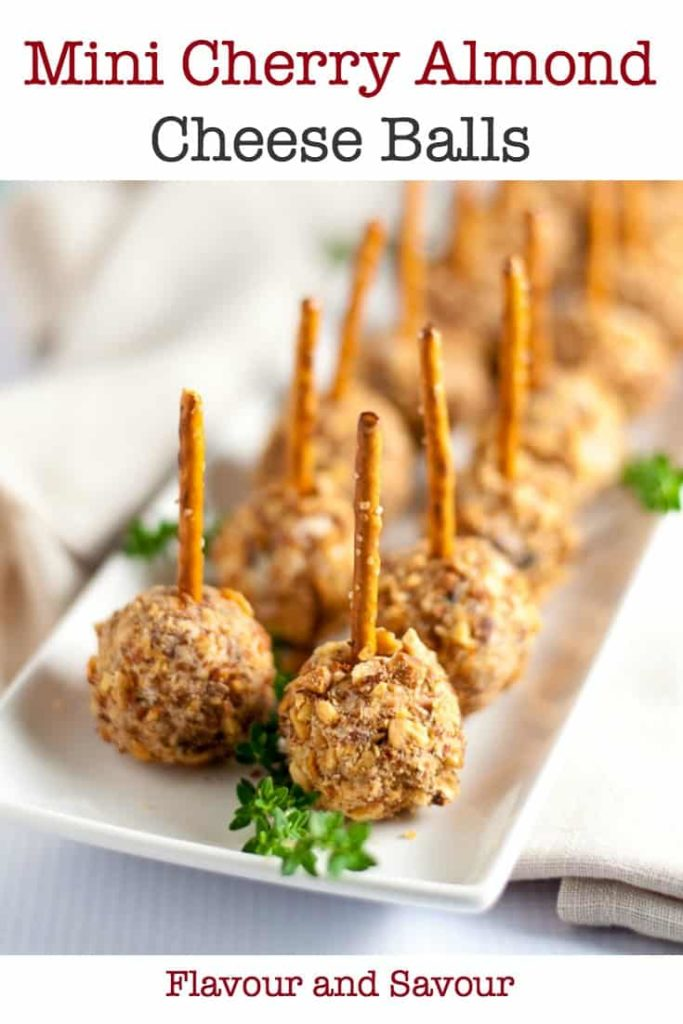 Mini Cherry Almond Cheese Balls on Pretzel Sticks