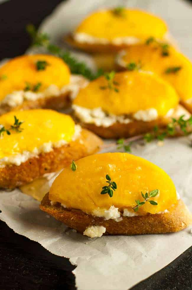Lemon Ricotta Crostini with Honeyed Peaches.