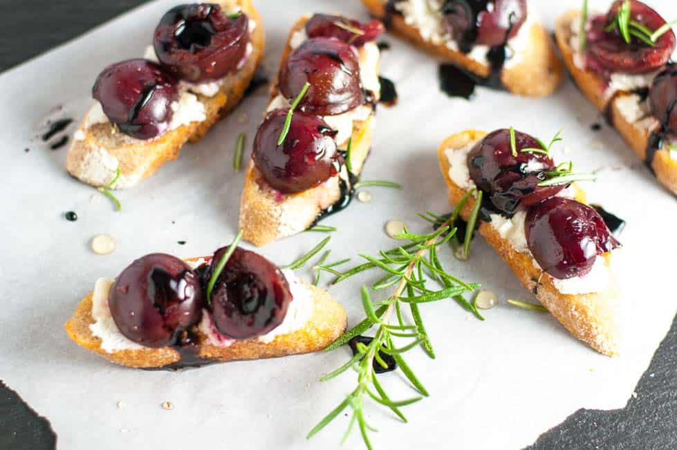 Roasted Cherry Goat Cheese Crostini with Honey and Balsamic Drizzle  www.flavourandsavour.com