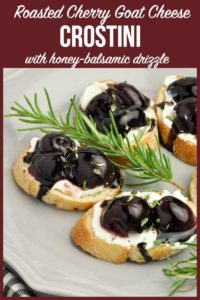 PInterest Pin fo Roasted Cherry Whipped Goat Cheese Crostini